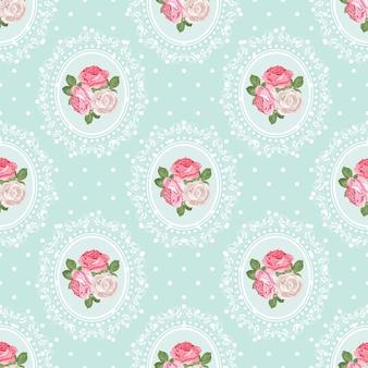 Shabby chic rose seamless pattern on polka dot background
