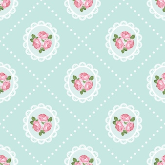 Shabby chic rose seamless pattern