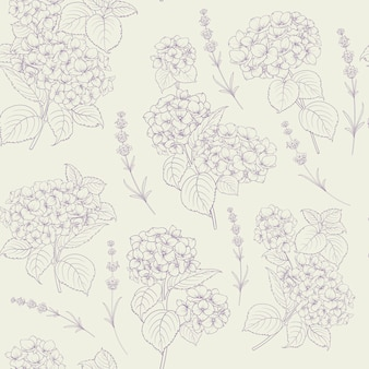 Shabby chic style pattern with blooming hydrangea.