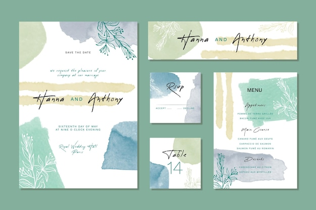 Shades of blue watercolor wedding stationery items