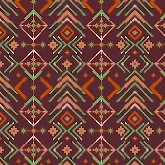 Shades of brown songket seamless pattern template