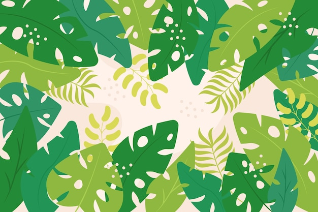 Shades of green exotic leaves background