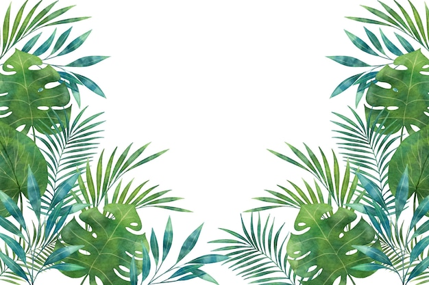 Shades of green tropical mural wallpaper copy space
