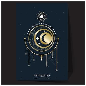 グラデーションメッシュスペースとゴールドの幾何学的なポスターの色合いは、宇宙の背景テンプレートを探索します