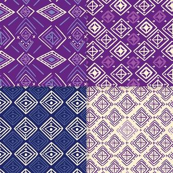 紫のソンケットのシームレスなパターンテンプレートの色合い