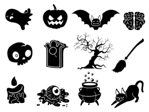The shadow collection of halloween silhouettes icon and characte. the website in the halloween festival. vector clipart illustration isolated on white background