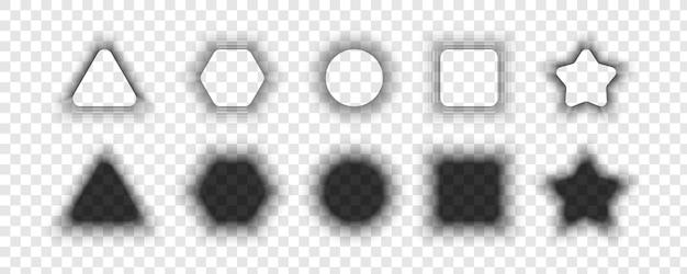 シャドウコレクション。ソフトエッジの異なる形状のリアルなシャドウ。エフェクトシャドウ。透明な背景に分離された灰色の影。ベクトルイラスト