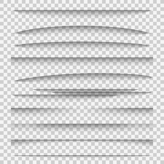 Shadow dividers. line paper design panel shadow effects divider webpage edge template tabs group, web frame elements
