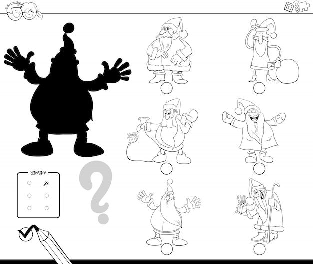 Shadow educational activity for children with santa