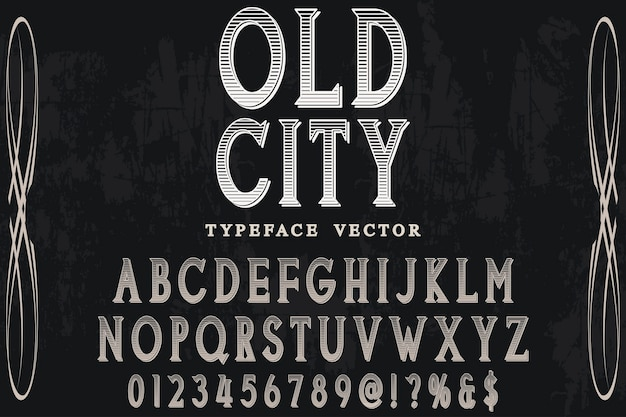Shadow effect alphabet label design old sity