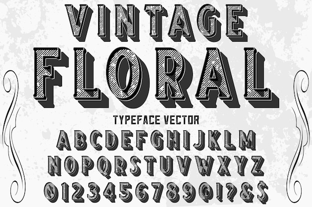 Shadow effect alphabet label design vintage floral