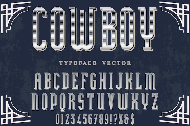 Shadow effect alphabet set with word  cowboy