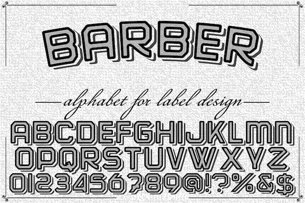 Алфавит shadow effect шрифт дизайн парикмахерская