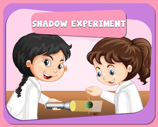 Shadow experiment with scientist kids cartoon character