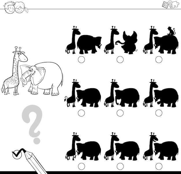 Shadow game with animals for coloring