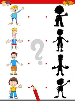 Shadow game with cartoon boys characters