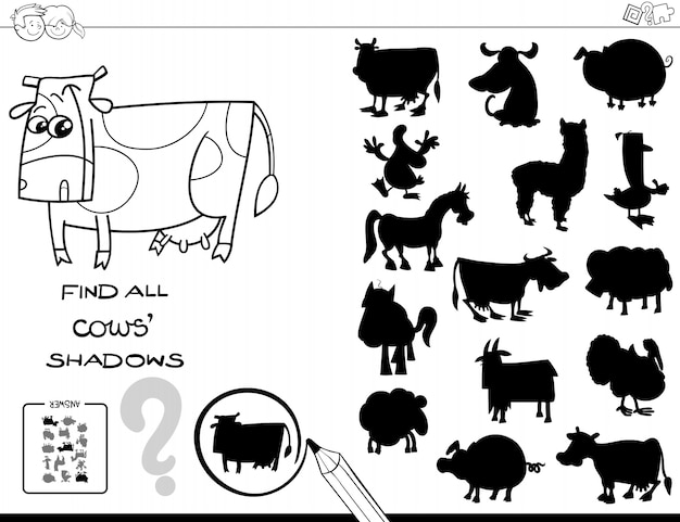 Shadow game with cows color book