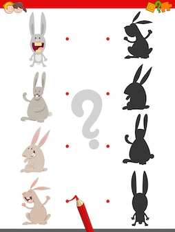 Shadow game with cute rabbit characters