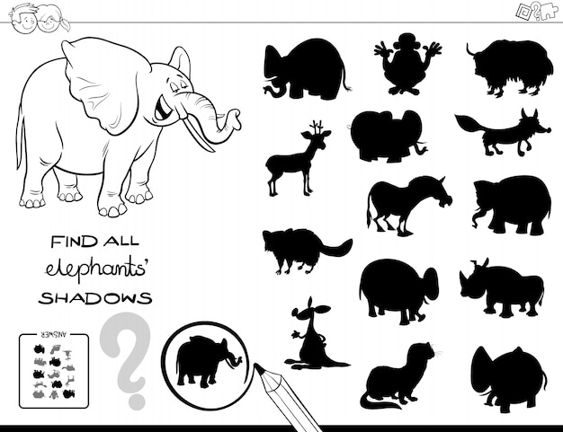 Shadow game with elephants color book