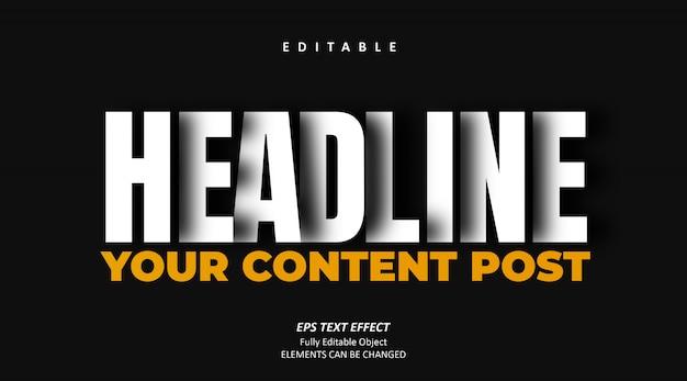 Shadow headline post text effect editable premium