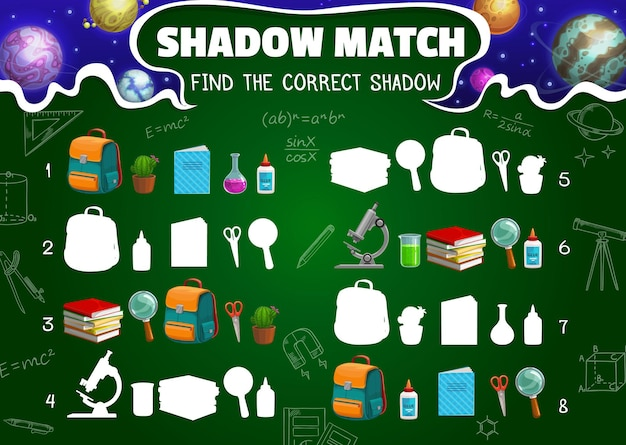 Shadow match game worksheet, cartoon space planets, schoolbag, textbook and school stationery silhouettes. vector kids riddle with learning items, cactus, backpack, microscope and magnifier or glue