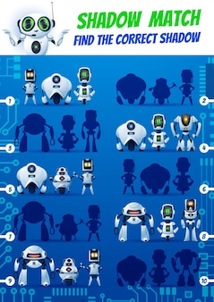 Shadow match kids game funny robots on motherboard