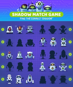 Shadow match kids game with cartoon robots and circuit board. memory puzzle, educational riddle or maze, children worksheet vector template with modern artificial intelligence android bots