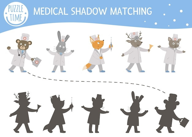 Shadow matching activity for children with cute animal doctors