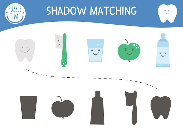 Shadow matching activity for children with cute dental care equipment. mouth hygiene preschool worksheet. find the correct silhouette game with kawaii tooth, toothpaste, apple, toothbrush.