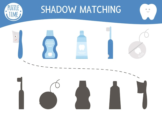 Shadow matching activity for children with dental care equipment. mouth hygiene preschool puzzle. cute educational worksheet. find the correct silhouette game with toothpaste, floss, toothbrush.