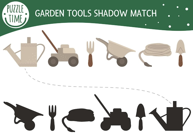 Shadow matching activity for children with garden tools