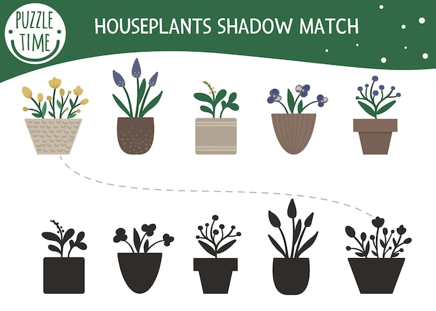 Shadow matching activity for children with houseplants in pots