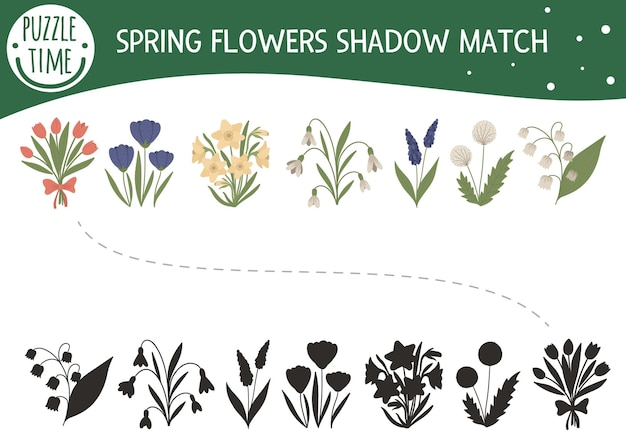Shadow matching activity for children with spring flowers