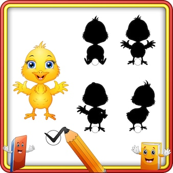 Shadow matching of baby chicken cartoon