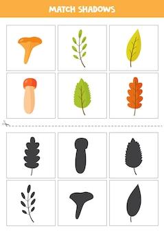 Карты соответствия теней для детей дошкольного возраста. осенние листья.