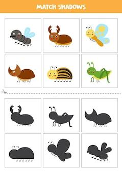 미취학 아동을위한 그림자 매칭 카드. 귀여운 곤충.