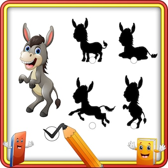 Shadow matching of donkey cartoon