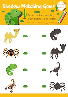 Shadow matching game desert animal