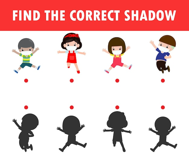 子供のためのシャドウマッチングゲーム。子供のためのビジュアルゲームは正しい影を見つける