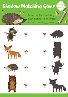 Shadow matching game forest animal