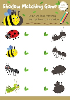 Shadow matching game insect bug animal