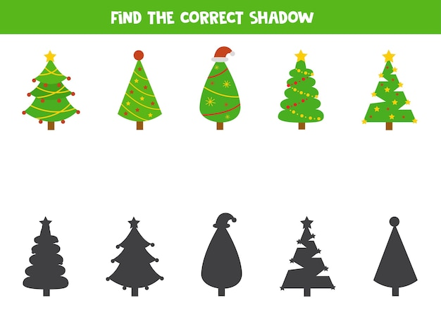 Shadow matching game for kids. find shadows of christmas trees. logical worksheets for kids.
