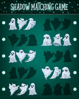 Shadow matching game template with halloween ghosts