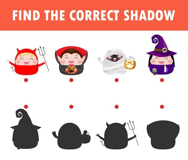 Shadow matching game для детей, визуальная игра для детей. соедините изображение точек, счастливый костюм детей партии хеллоуина, иллюстрацию изолированную образованием.