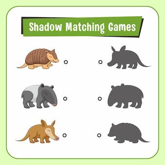 Shadow matching games animals armadillo tapir aardvark