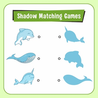 Shadow matching games animals dolphin narwhal whale