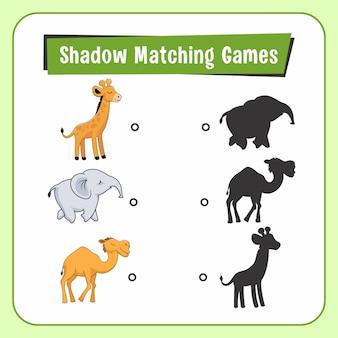 Shadow matching games animals giraffe elephant camel