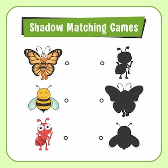 Shadow matching games animals insect butterfly bee ant