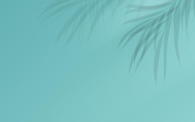 柔らかい青の背景にココナッツの葉の影。ベクトルイラスト