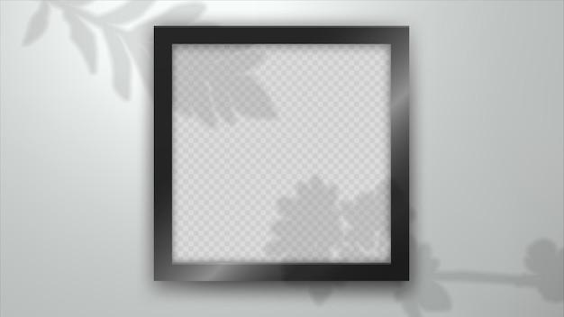The shadow of ornamental plants leaf on photo frame